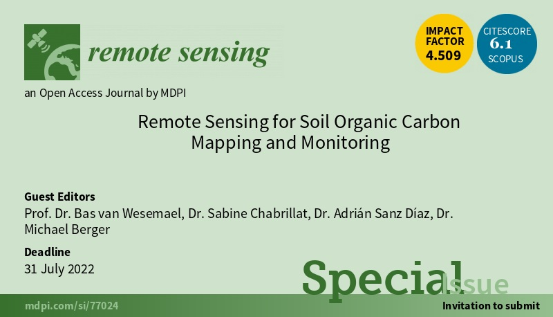 Read more about the article Call for contributions – Remote Sensing for SOC Mapping and Monitoring